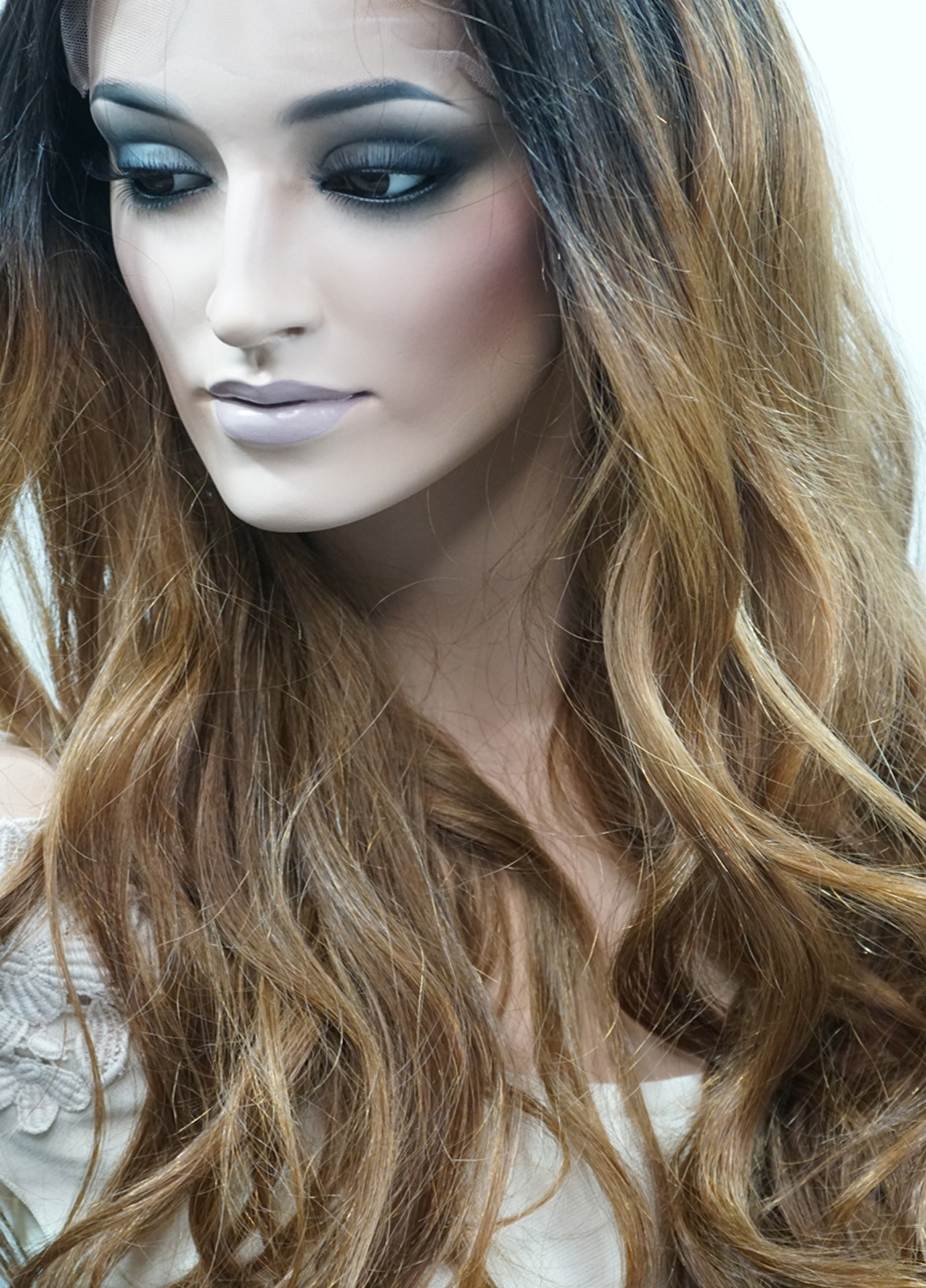 Long Blonde Human Hair Wig With Highlights