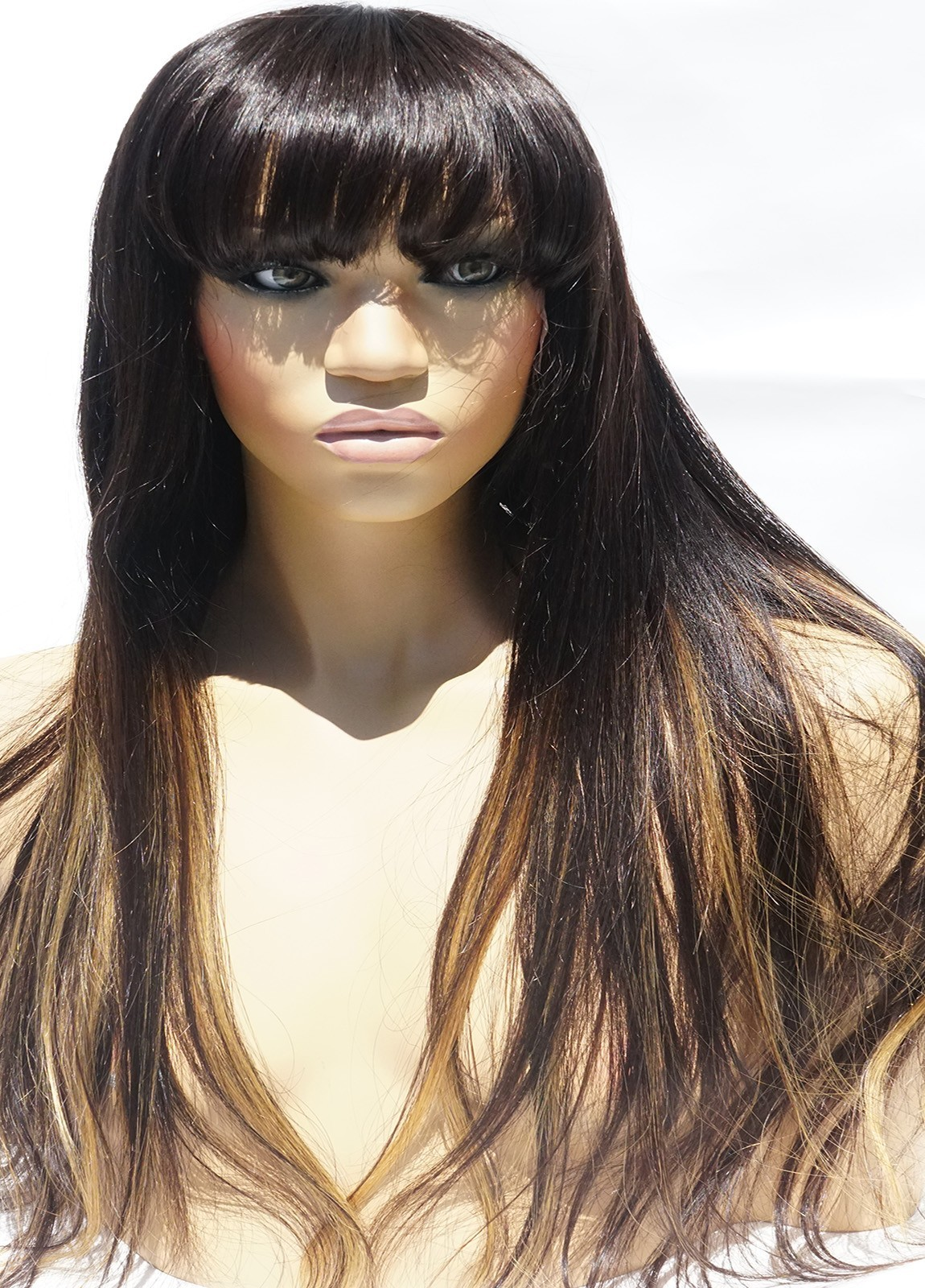 Long wigs with bangs human hair