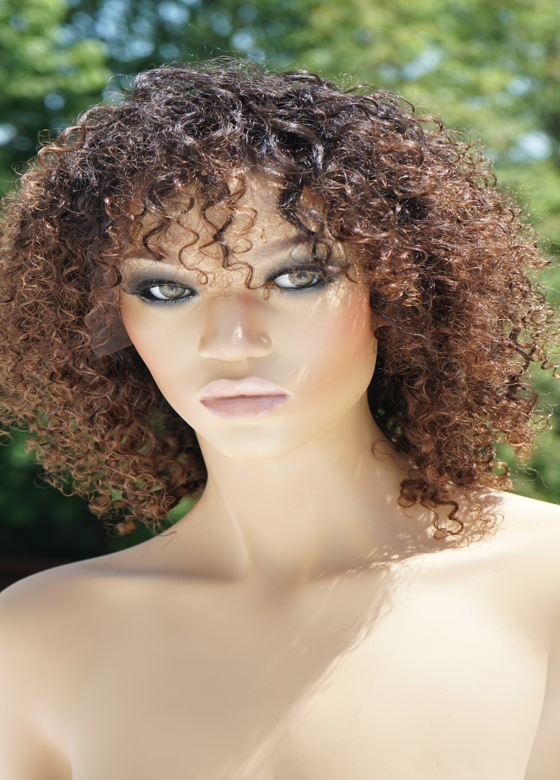 Human Hair Curly Wigs With Bangs