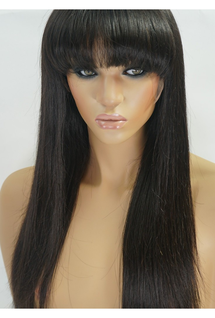Human Hair Wigs with Bangs for African American