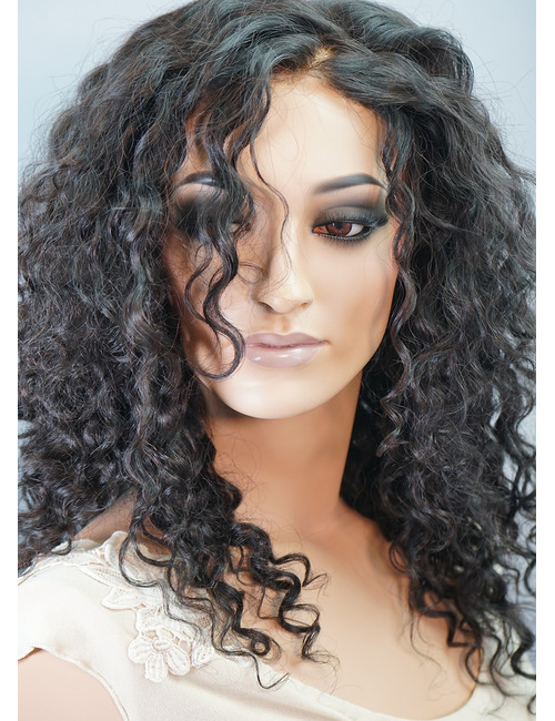 Curly Human Hair Wigs for White Women