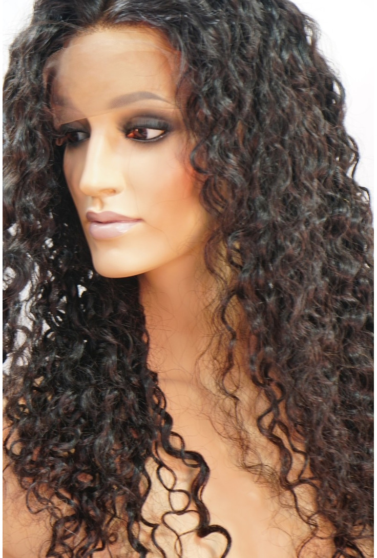 Front Lace Curly Human Hair Wigs